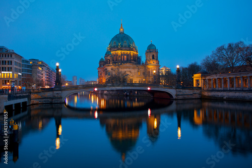 Fototapety, obrazy: Berlin Cathedral at night Germany church