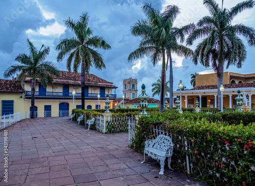 Plaza Mayor at dusk, Trinidad, Sancti Spiritus Province, Cuba Canvas Print
