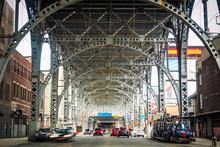 Traffic Under Architectural Landmark Riverside Drive Viaduct In West Harlem, Upper Manhattan, New York City, United States Of America.
