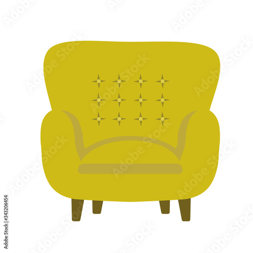 Photo Vector illustration of modern soft upholstered armchair from mustard yellow velvet fabric with button-tufted backrest padded seat on wooden legs
