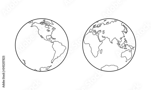 Photographie Vector illustration of Western and Eastern Hemispheres of planet Earth, silhouettes of continents, contour line