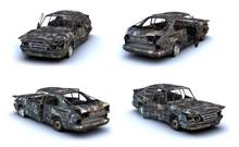 Set Of 3d-renders Of Burnt Car On White