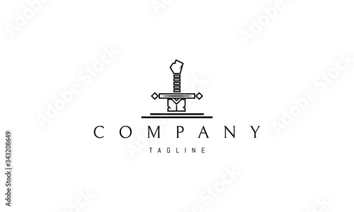 Vector logo on which the abstract image of the sword of King Arthur in a linear style Canvas Print
