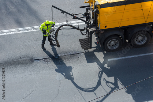 Photo Road surface restoration work