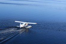 Sea Plane Taking Of St Lawrence River In Canada