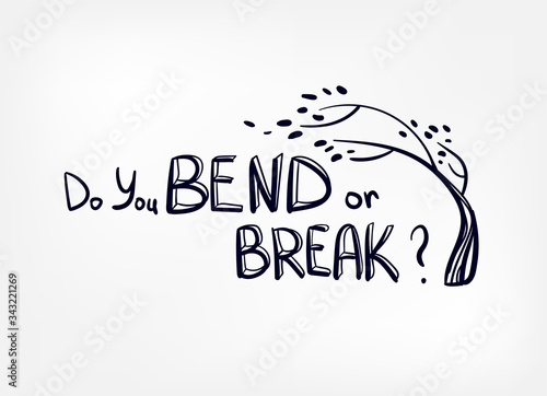 resilience bend or break vector sketch hand drawn illustration line Canvas Print