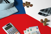 Czech Republic Flag On Minimal Money Concept Table. Coins And Financial Objects On Flag Surface. National Economy Theme.