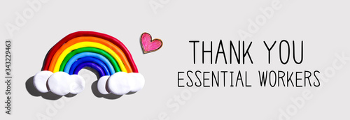 Photo Thank You Essential Workers message with a rainbow and a heart