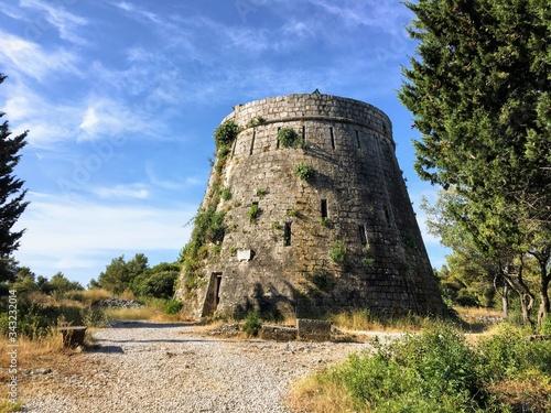 Fototapeta A closeup view of Forteca Svetog Vlaha outside of Korcula town on the island of Korcula