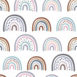 seamless pattern with pastel rainbows - vector illustration, eps