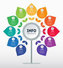 Business Presentation Or Infographics Concept With 11 Options And Icons. Template Of Tree With Leaves, Chart Or Diagram. Info Graphic Of Technology Or Education Process With Eleven Steps.