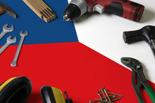 Czech Republic Flag On Repair Tool Concept Wooden Table Background. Mechanical Service Theme With National Objects.