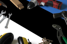 Estonia Flag On Repair Tool Concept Wooden Table Background. Mechanical Service Theme With National Objects.