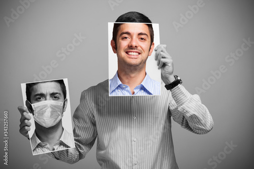 Obraz Man changing his mood, before and after coronavirus quarantine - fototapety do salonu