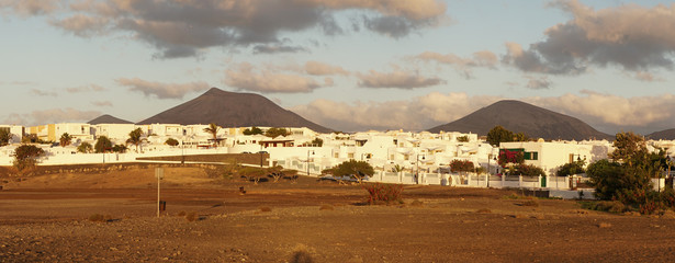 Hiking landscapes during sunset near Arrecife on the spanish Island Lanzarote.