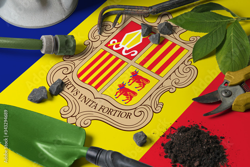 Andorra flag with gardening tools background on table Canvas Print