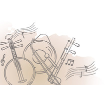 Music Themed Background With Chinese Musical Instruments.