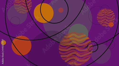 abstract background design with geometric circles and lines in modern techno pat Wallpaper Mural
