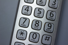 Close Up Abstract View Of The Keypad On A Handheld Cordless Landline Home Telephone