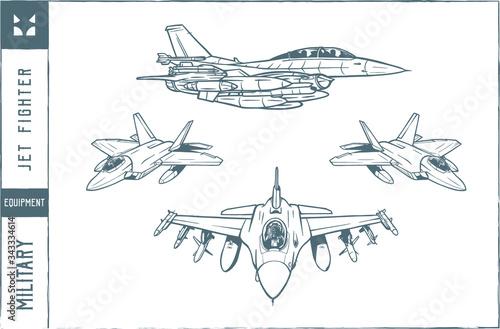 Set of military jet fighter Vector illustration - Hand drawn - Out line Fototapeta