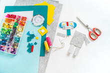 Craft From Felt. Futuristic Robot. A Toy For A Child.