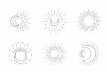 Vector Sun And Moon Line Desig...