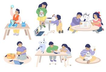 Robotics school character set, vector flat isolated illustration