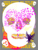 skull and birds print embroidery graphic design vector art