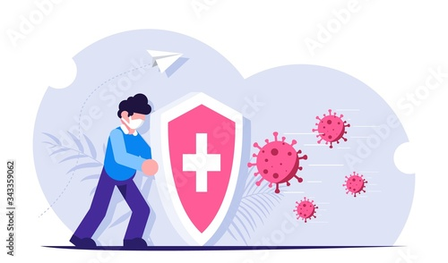 People with a shield is protected from a virus attack Canvas Print