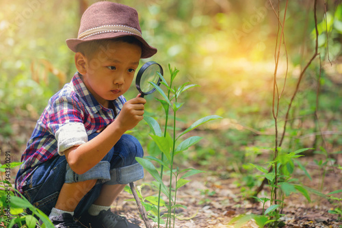 Fotografie, Obraz Happy little boy with magnifying glass explorer and learning the nature at home