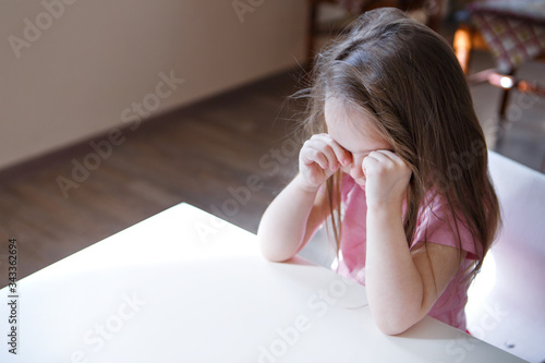 the child is bored, sad face Wallpaper Mural
