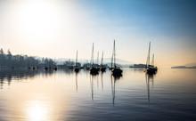 Sailboats Moored In Lake Again...
