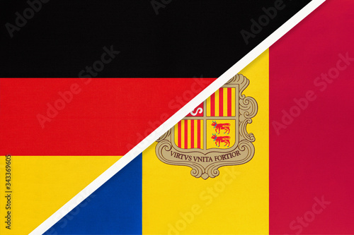 Federal Republic of Germany vs Andorra, symbol of two national flags Canvas Print