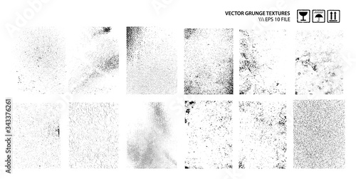 Dirty Grunge Textures Vector Set Canvas