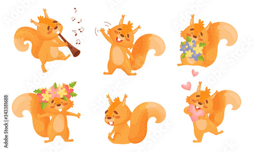 Valokuva Furry Orange Squirrel Character Playing Flute and Holding Bunch of Flowers Vecto
