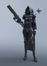 Cyborg Woman Stands In An Atta...