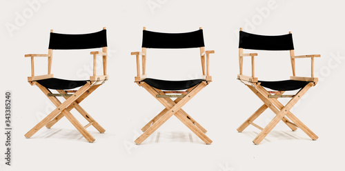 Fotografie, Obraz Multi angle of Director's chair isolated on white background, front left right