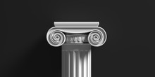 Marble Pillar Column Classic Greek Against Black Background. 3d Illustration