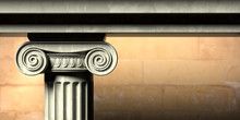 Ancient Greek Temple, Ionic Style Marble Pillar Detail, Blur Stone Wall Background. 3d Illustration.