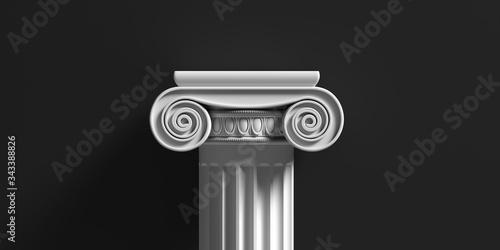 Fotografie, Tablou Marble pillar column classic greek against black background
