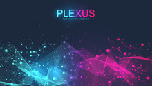 Abstract Scientific Background With Dynamic Particles, Wave Flow. Plexus Stream Background. 3D Data Visualization With Fractal Elements. Cyberpunk Style. Digital Vector Illustration