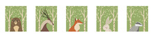 Set Of Posters With Forest Animals. Vector Illustration.