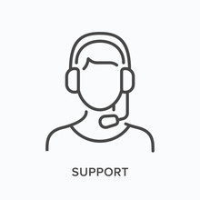 Support Line Icon. Vector Outline Illustration Of Customer Assistant In Headphones With Microphone. Helpline Operator In Pictorgam