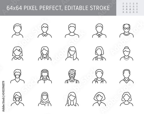 People avatar line icons. Vector illustration included icon as man, female, muslim, senior, adult and young human outline pictogram for user profile. 64x64 Pixel Perfect Editable Stroke