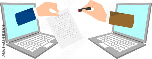 Fototapeta DX、はんこから電子契約へのイラストイメージ