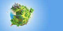 Globe Concept Of Idyllic Fantasy Green World
