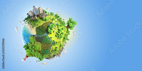 Foto globe concept of idyllic fantasy green world