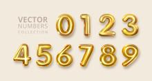 Gold Numerals Set. Golden Yellow Metal Letter. Number 1 2 3 4 5 6 7 8 9 0. Alphabet Font. Typography Design Element. Party Background. Foil Symbol. Bright Metallic 3D, Vector Realistic Illustration