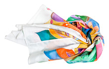 Master-class Of Batik Coloring - Wrapped Silk Scarf With Floral Ornament Hand-drawn In Cold Contour Batik Technique Isolated On White Background