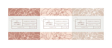 Vector Set Pattens For Cosmetics With Label Template Design. Patterns Or Wrapping Paper For Package And Beauty Salons. Jasmine Flowers. Organic, Natural Cosmetic.